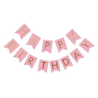 🚚 Happy Birthday Bunting banner - Pink