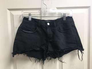 Size 2 black denim shorts
