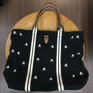 POLO RUGBY All Over Embroidered Skull Pattern Canvas Tote Bag Ralph Lauren RRL骷髗繡花手挽袋