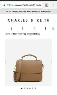 Charles and Keith Front Flap Crossbody Bag
