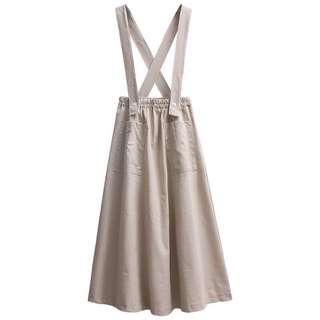 Khaki suspender skirt
