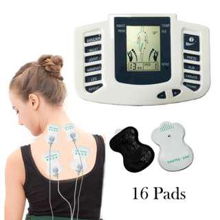 Electrical Tension Relief Muscle Therapy Massager Pulse Tens Acupuncture 16 Pcs Pads