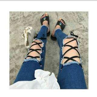 Laceup jeans