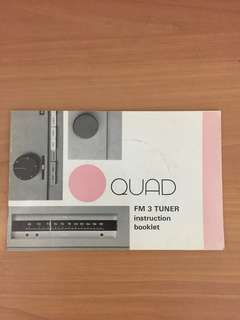 Vintage Quad FM3 instruction booklet