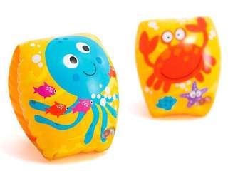 🚚 美國品牌 Intex 可愛海底動物手臂浮臂圈/手臂圈/浮力圈/手臂浮圈/游泳圈(20*15cm)~適合1-3歲