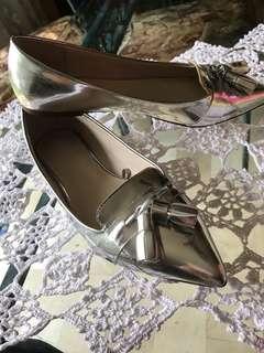 SOLD! Zara silver flats