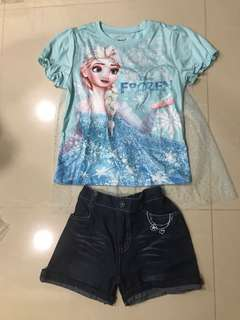 Brand new Frozen top with cape and demin shorts