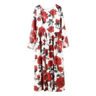 Rose Print Long Sleeve Dress  TG
