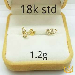 EARRING DOUBLE HEART 18K SAUDI GOLD