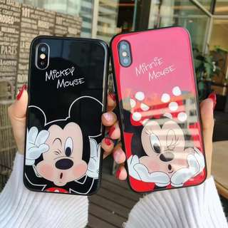🦄  Minnie Mickey Mouse Couple iPhone Case Tempered Glass 6 6s 7 8 plus X