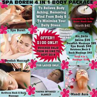 Spa Boreh 4in1 Body Package (For Ladies Only) ⊷⊷⊷⊷† Home Spa Treatment Package Will Commence Starting From 20 June 2018 ⊷⊷⊷⊷⊷⊷⊷⊷⊷⊷⊷⊷⊷⊷⊷⊷⊷† † RESERVATIONS OPEN NOW †