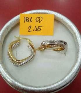 18k saudi gold two tone loop earring