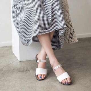 🚚 韓國♥僴金屬雙圓細帶涼鞋