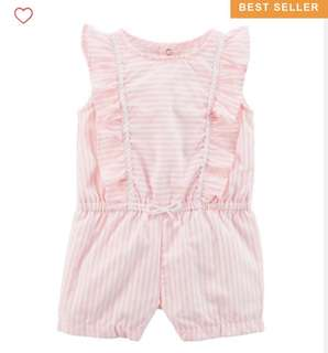 🚚 BN Carters Baby/Toddler Girl Striped Pastel Ruffle Romper 9mths & 24mths available!