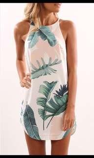 NEW Palm leaf patterned dress, Sz 6-8