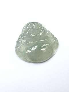 天然翡翠玉吊咀,大肚笑彿,冰種,內有石紋,(25.9x28x5)mm,有中國證書