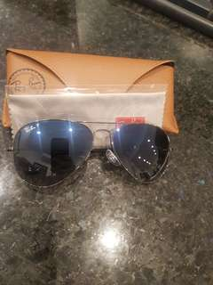 Ray Ban Polarised Gunmetal Aviator Sunglasses
