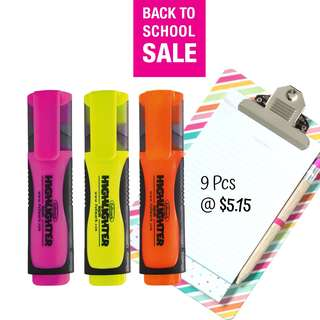 SALE! 9 Pcs Assorted Color Fluorescent Highlighter