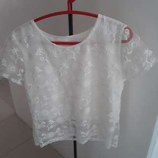 White Lace Sheer Blouse