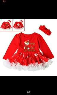 Winter Christmas New Year Kids Girls Baby Red Long Sleeve Party Bubble Dress (Ships in 9-12days)