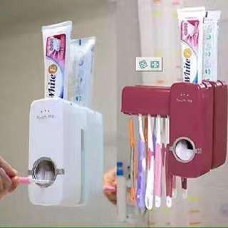 Touch me toothbrush & toothpaste dispenser