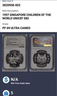 1997 Singapore children of the world unichef $2 silver coin