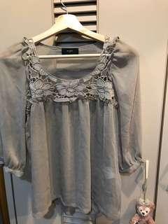 🚚 領口繡花雪紡罩衫(日本製)