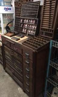 老香港文化活版印刷字粒櫃古道具