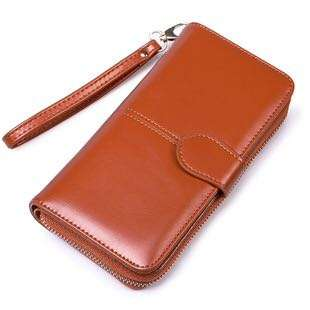 Classy Long Leather Zipped Wallet With Card and Cellphone Holder