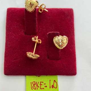HEART EARRING 18K SAUDI GOLD