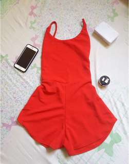 Red lowback short swimsuit