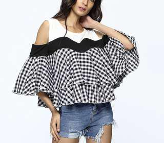 Baby doll plaid off Shoulder top w/ Insert