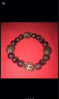 {FS138} 野生越南沉香 Wild vietnamese Agarwood Bracelet with obsidian beads