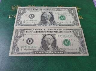 1969年兩張一元美金