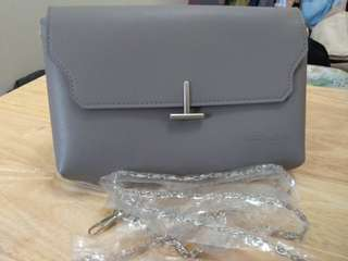 Gray Michaela pouch with chain strap