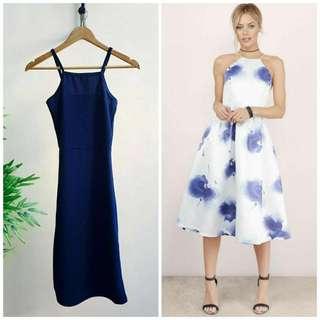 Navy Blue Halter Midi Dress