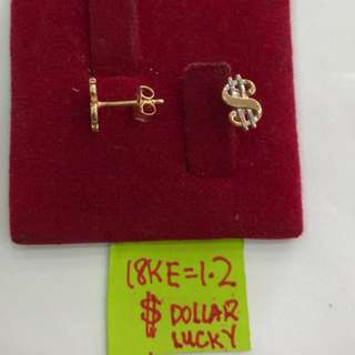 EARRING DOLLAR SIGN 18K SAUDI GOLD