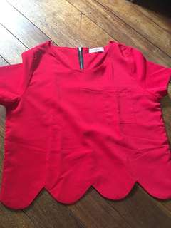 Muffin Red Top with Hemline Detail (Fits S-M)