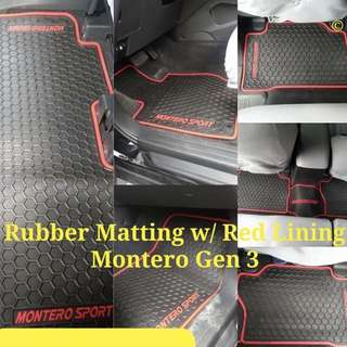 Rubber Matting with Red Lining Montero Gen 3