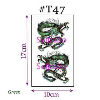 #T47 Fake Temporary Body Tattoo Stickers Washable Wash Off Print Sellzabo Patterns Designs Tatoo Tatto Tattoo Accessories Green Colour Fierce Animals Dragon 青龙 Naga