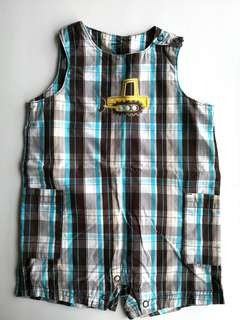 PRELOVED CARTER Baby Boy Brown & Blue Checks Construction  Loader Truck Sleeveless Romper - in excellent condition