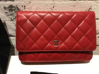 Authentic Chanel Classic WOC Wallet on Chain in Red Lambskin with SHW
