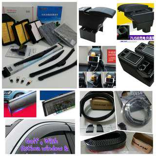 Toyota front & rear wiper, Aircon cabin filter, engine air filter, armrest console box, visor, boot & bumper lip
