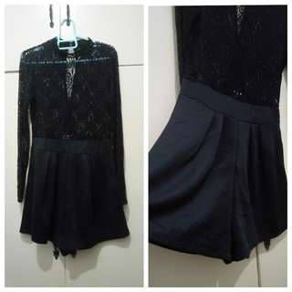 WA745 Black Lace Top w/ Shorts Formal Onesie (see pics for Measurements)