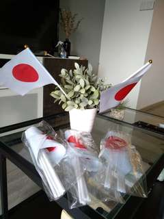 Japan flags, hand waving, full sized