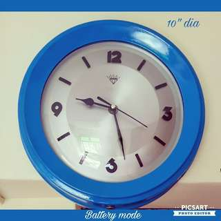 "1970s 10"" Diamond Clock in Cool Blue Colour Cover. Converted to Battery-operated si you do not have to run wires. Good condition.Lowest Price Offer at $80 only!  Sms 96337309."