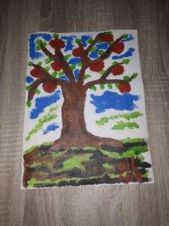 Acrylic on canvas apple tree