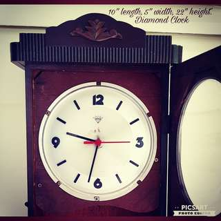 1950s Grandfather Diamond Clock. Wall clock, wooden case. Converted to Battery-operated so you do not need to run wires. Good working condition. $98 offer!  Sms 96337309.