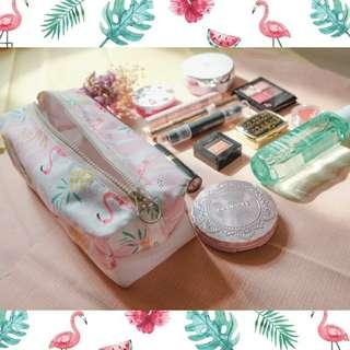 🚚 化妝包 方形 吐司包 火烈鳥 紅鶴 化妝 隨身包 帆布包  大容量化妝包