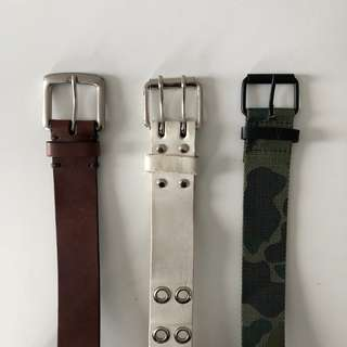 Belts: Gap Brown Leather, White Grommet, ASOS Camo